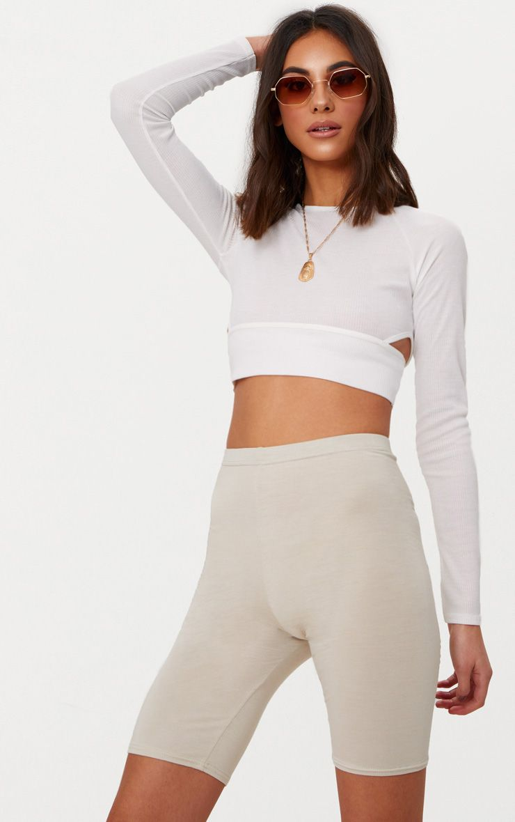 white long sleeve rib cut out side crop top prettylittlething aus. Black Bedroom Furniture Sets. Home Design Ideas