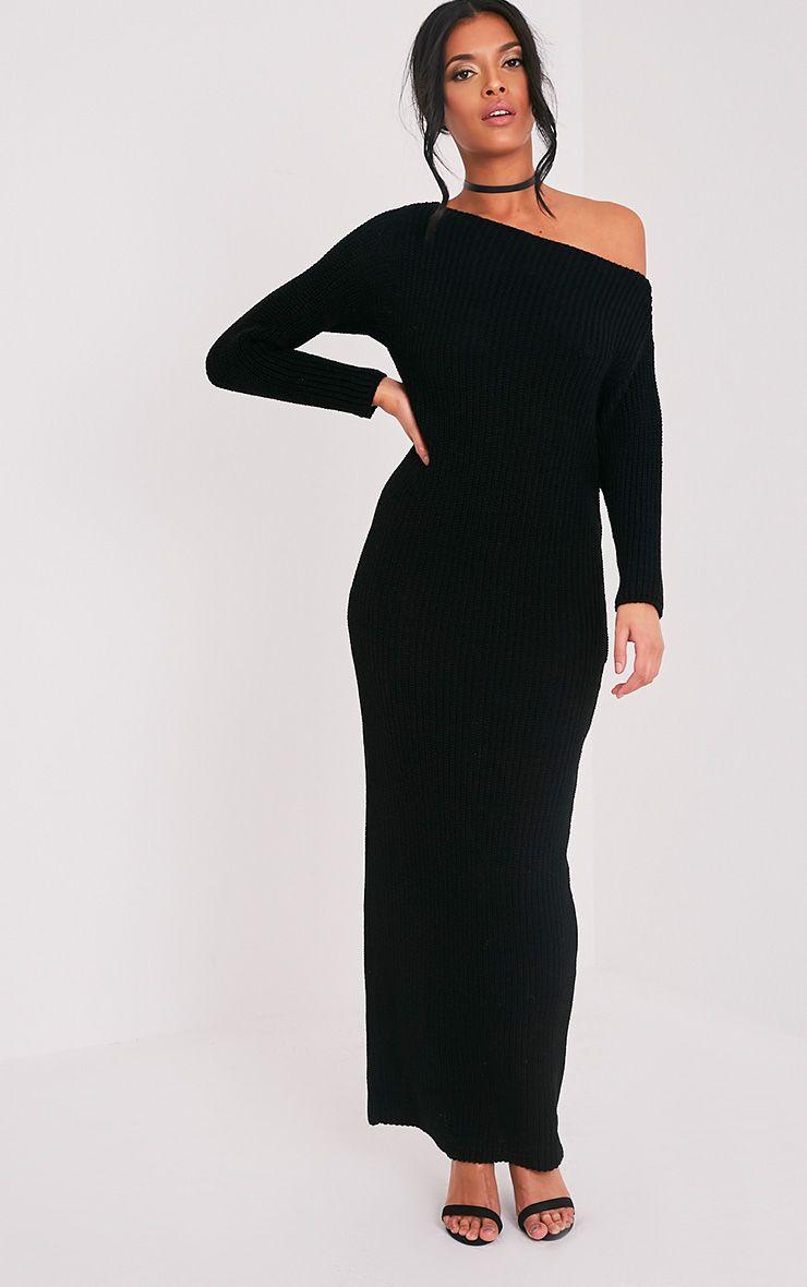 Adalynn Black Knitted Maxi Jumper Dress 1