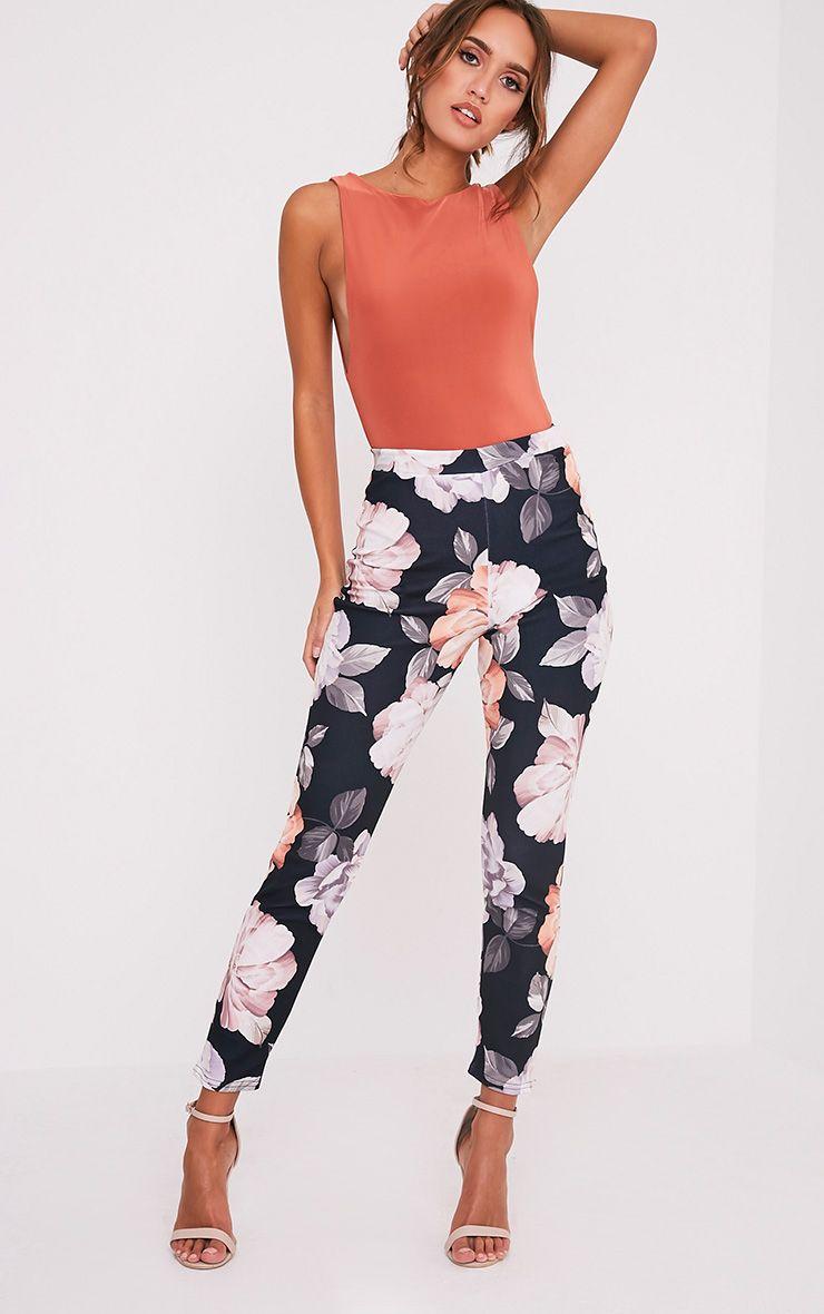 Anaya Black Floral Cigarette Trousers
