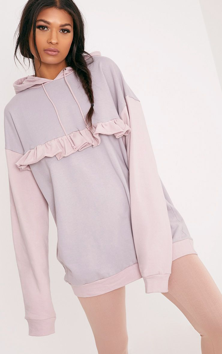 Adaline Lilac Grey Frill Oversized Hoodie