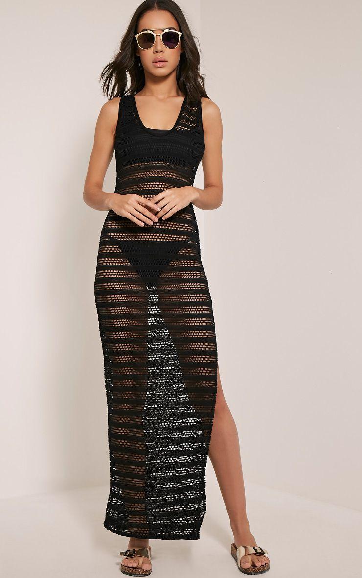 Erica Black Scoop Back Lace Beach Maxi Dress 1