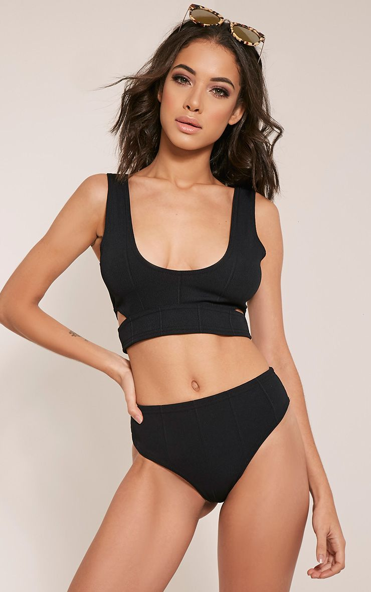 Faith Black Bandage Beach Co-Ord Top