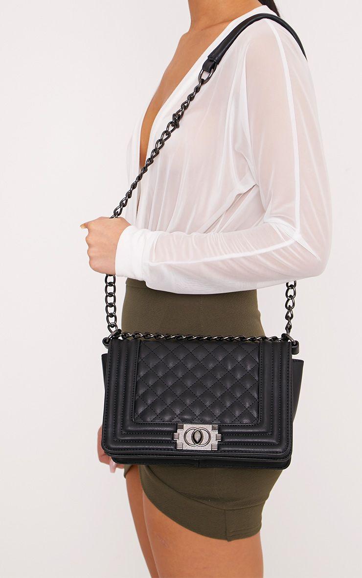 Millen Black Quilted Chain Strap Bag