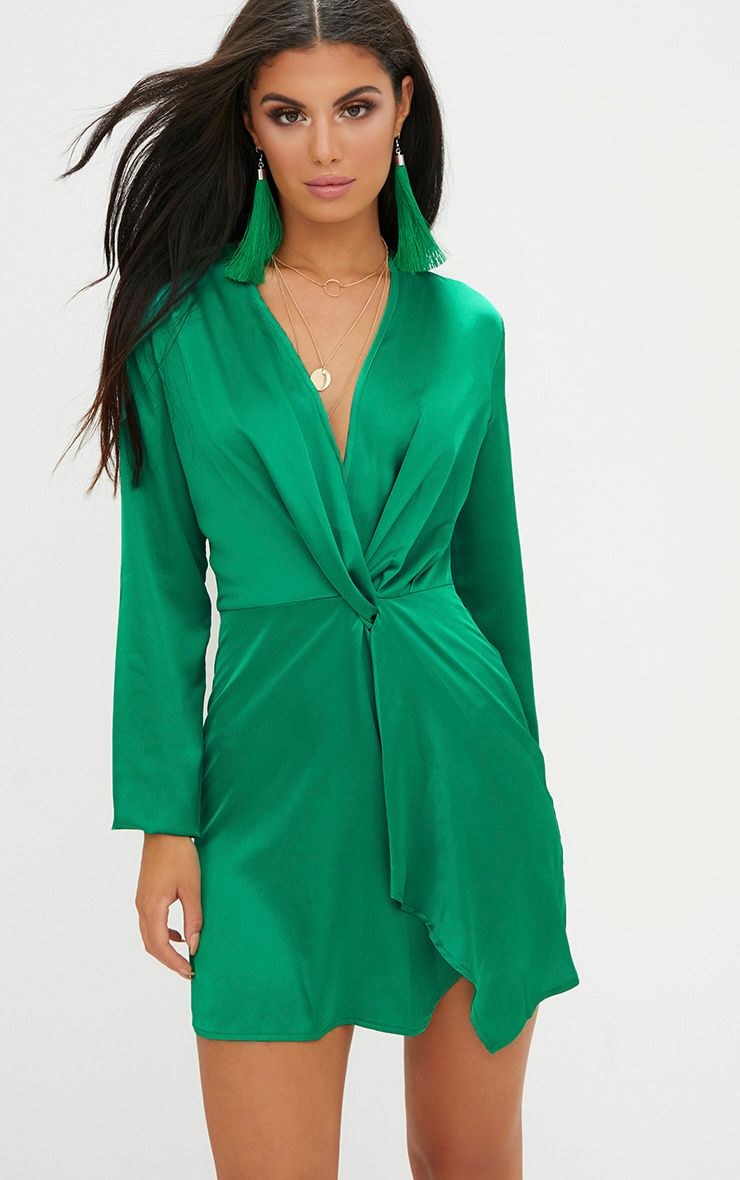 Green Satin Long Sleeve Wrap Dress