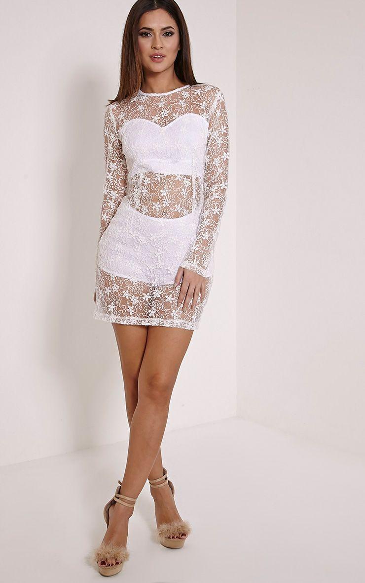 Hayli Cream Baroque Sequin Lace Dress 1