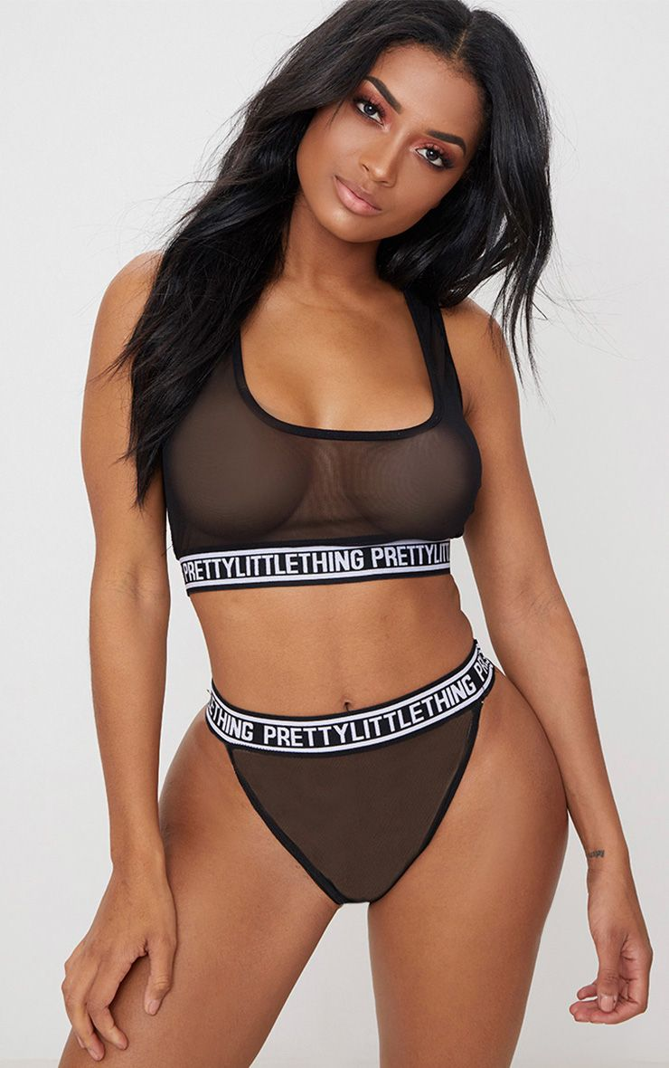 Black Prettylittlething Mesh High Waisted Pant