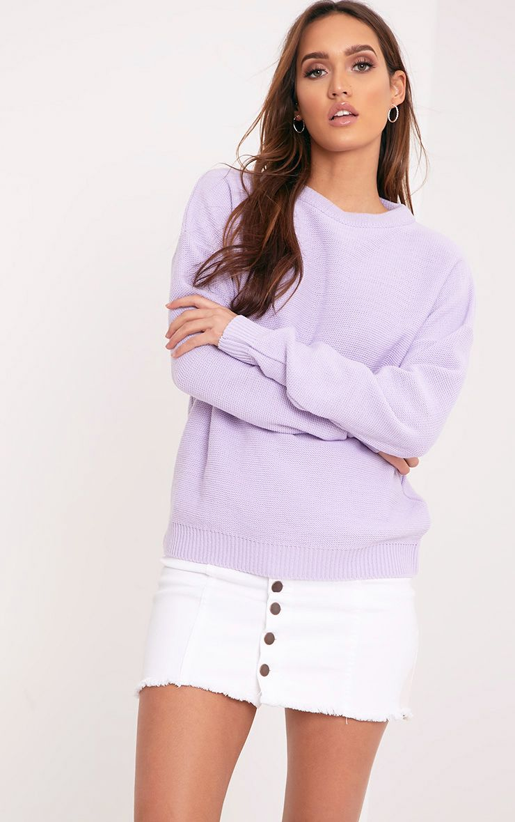 Roberta Lilac Round Neck Knitted Jumper