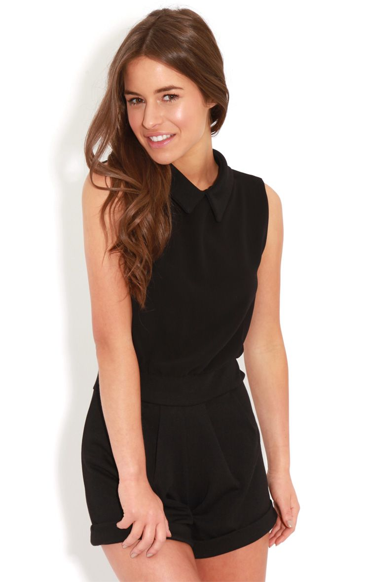 Xander Black Chiffon Collar Playsuit  1