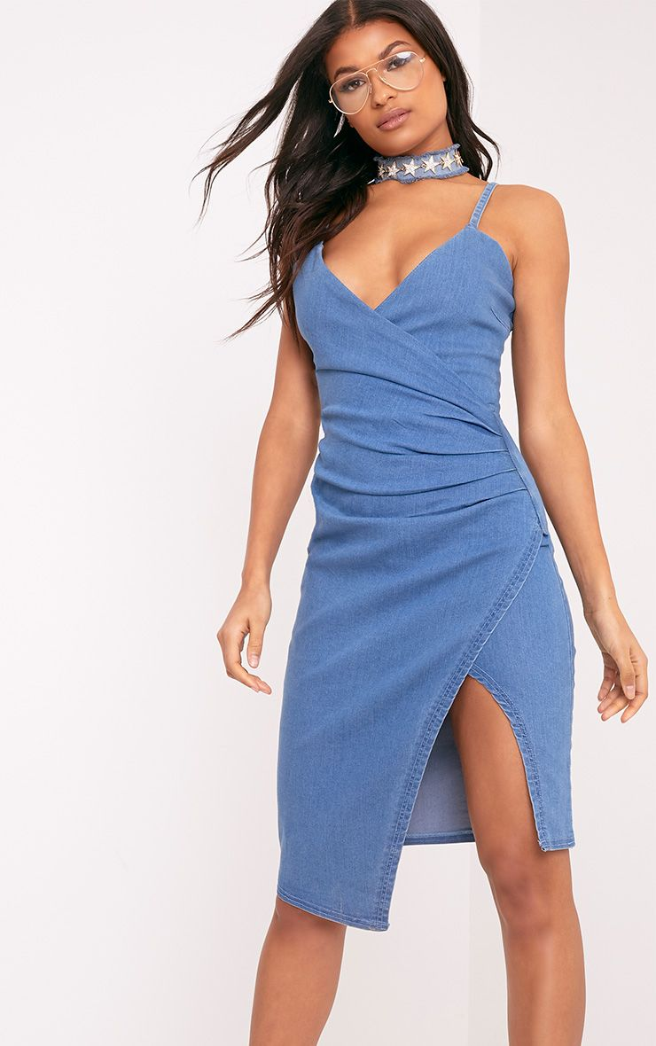 Amalia Blue Strappy Cami Denim Dress 1