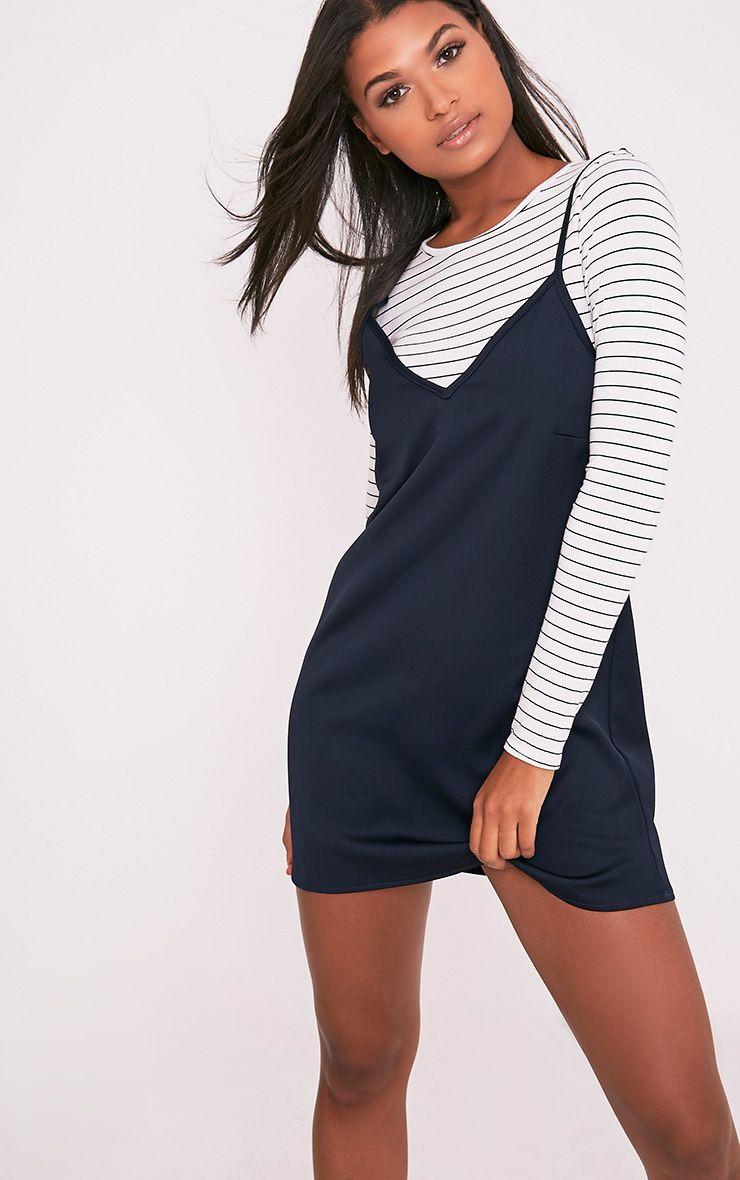 Ameera Navy Satin Slip Dress 1
