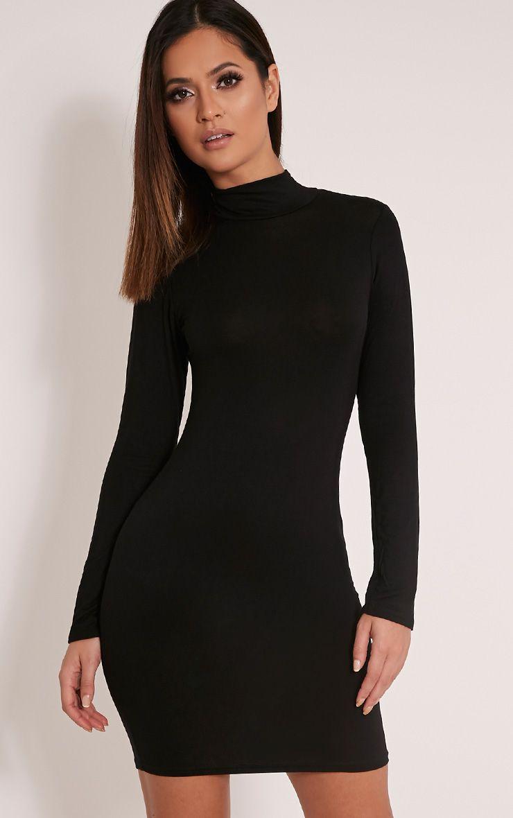 Basic Black Long Sleeve Bodycon Dress 1