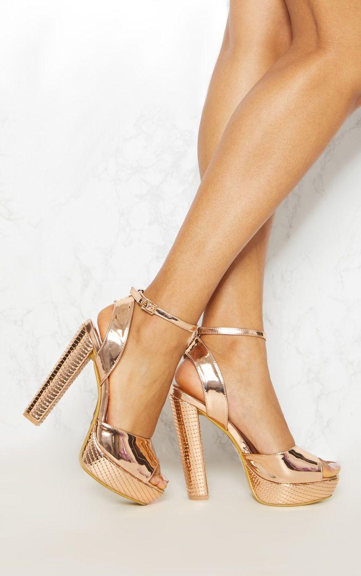 Gold High Platform Heels