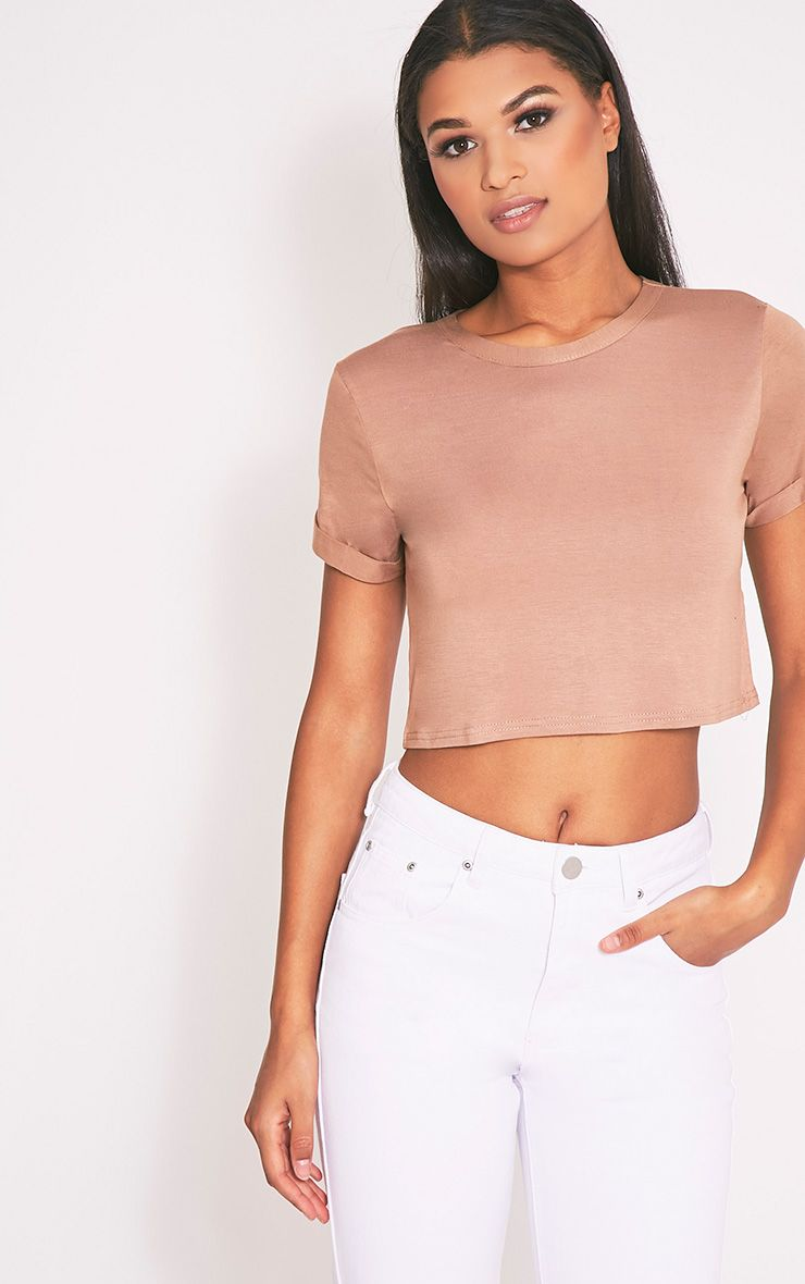 Basic Camel Roll Sleeve Crop T Shirt