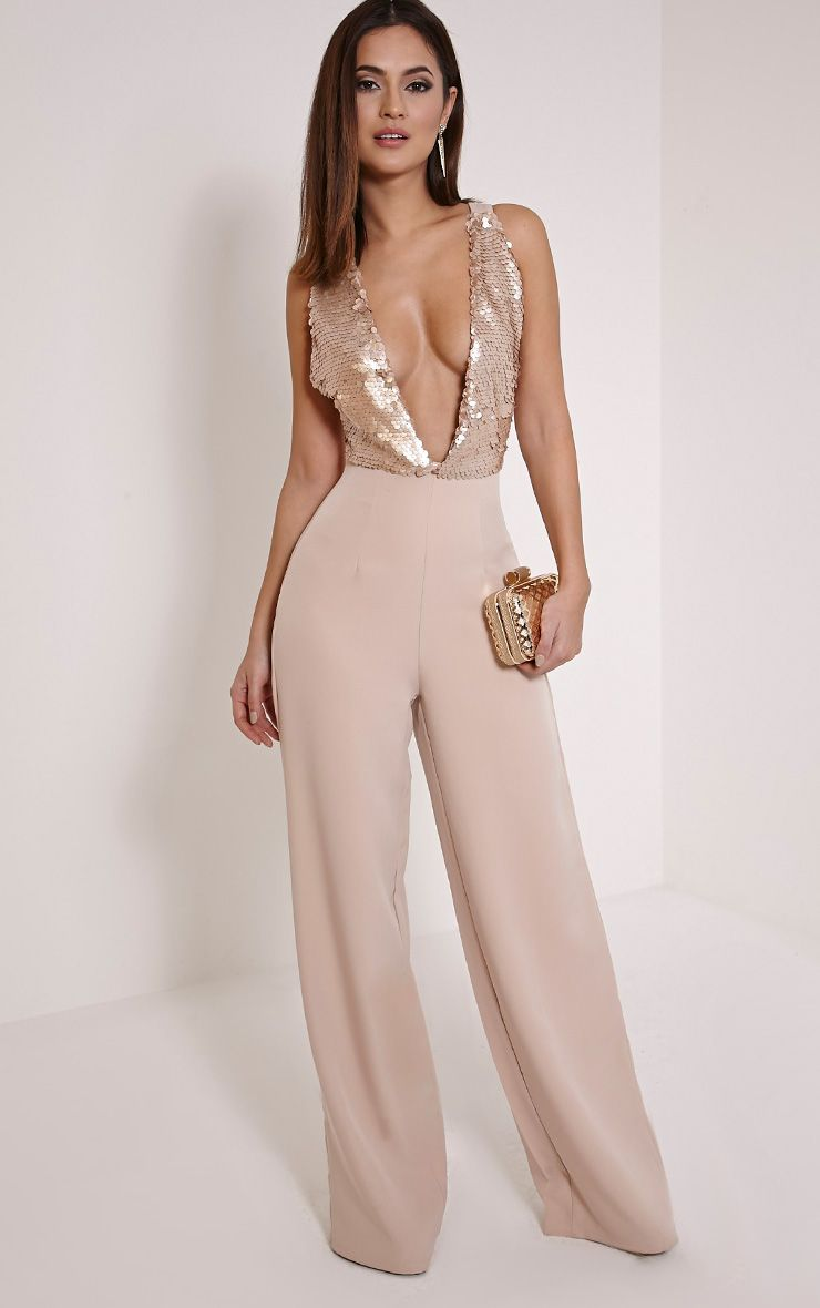 Darcey Rose Gold Sequin Plunge Cross Back Jumpsuit
