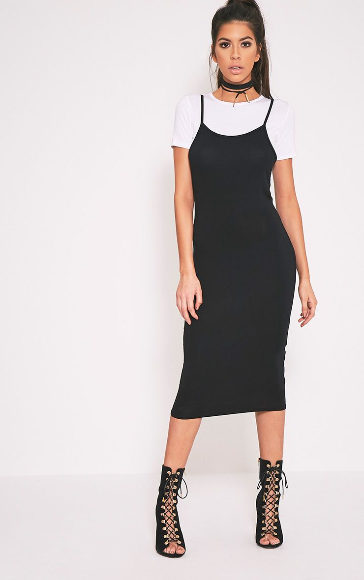 2 Pack Basic Black T Shirt and Midi Dress