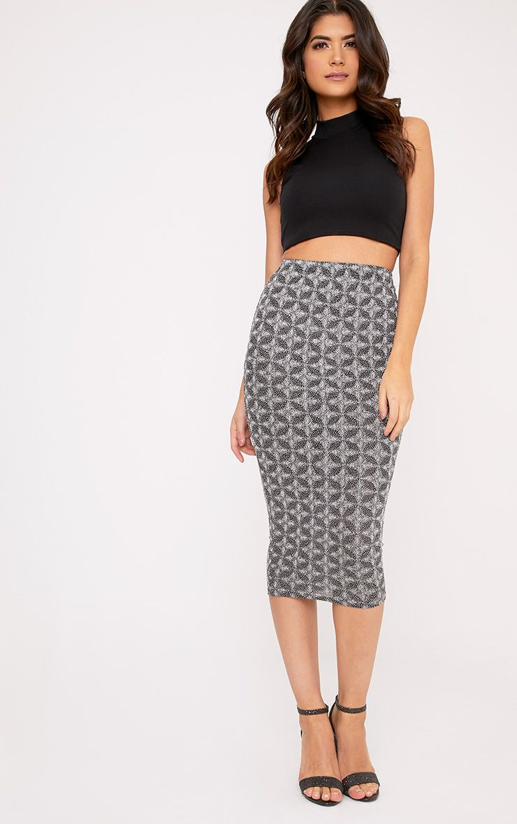 Beattie Silver Glitter Long Line Midi Skirt
