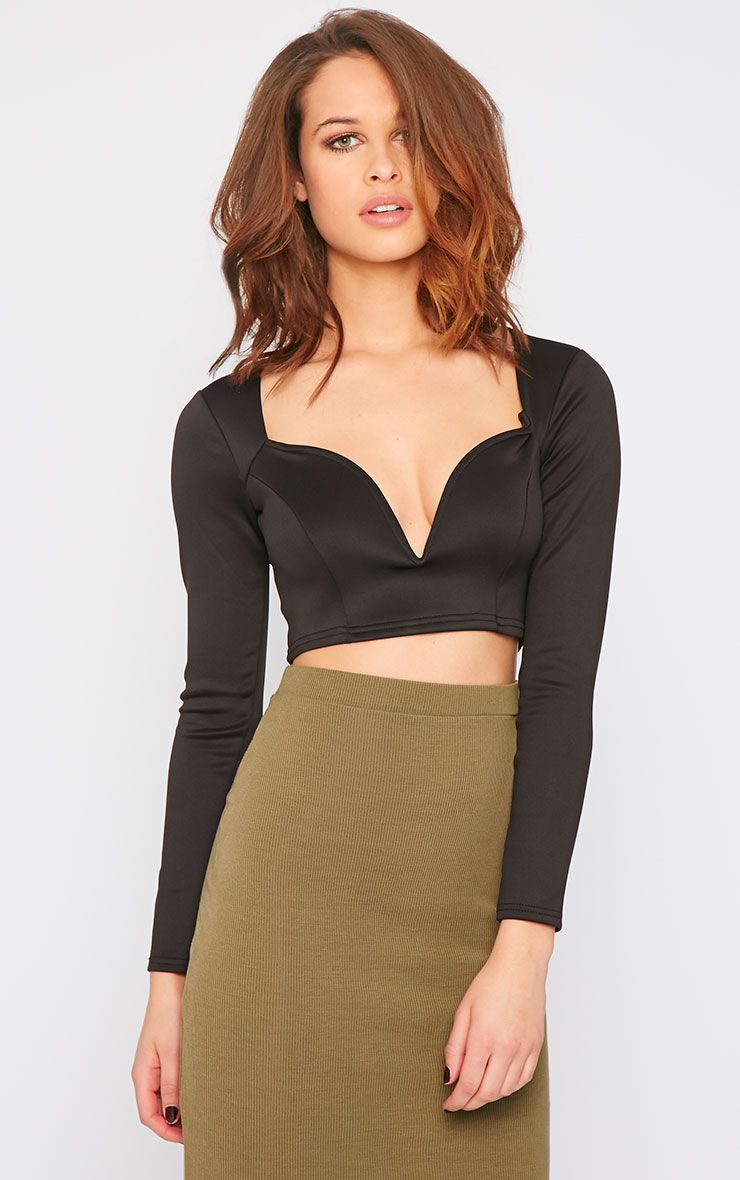 Honi Black Sweetheart Scuba Crop Top  1