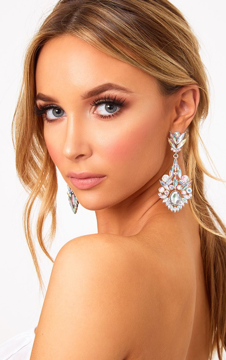 Silver Iridescent Diamante Drop Earrings