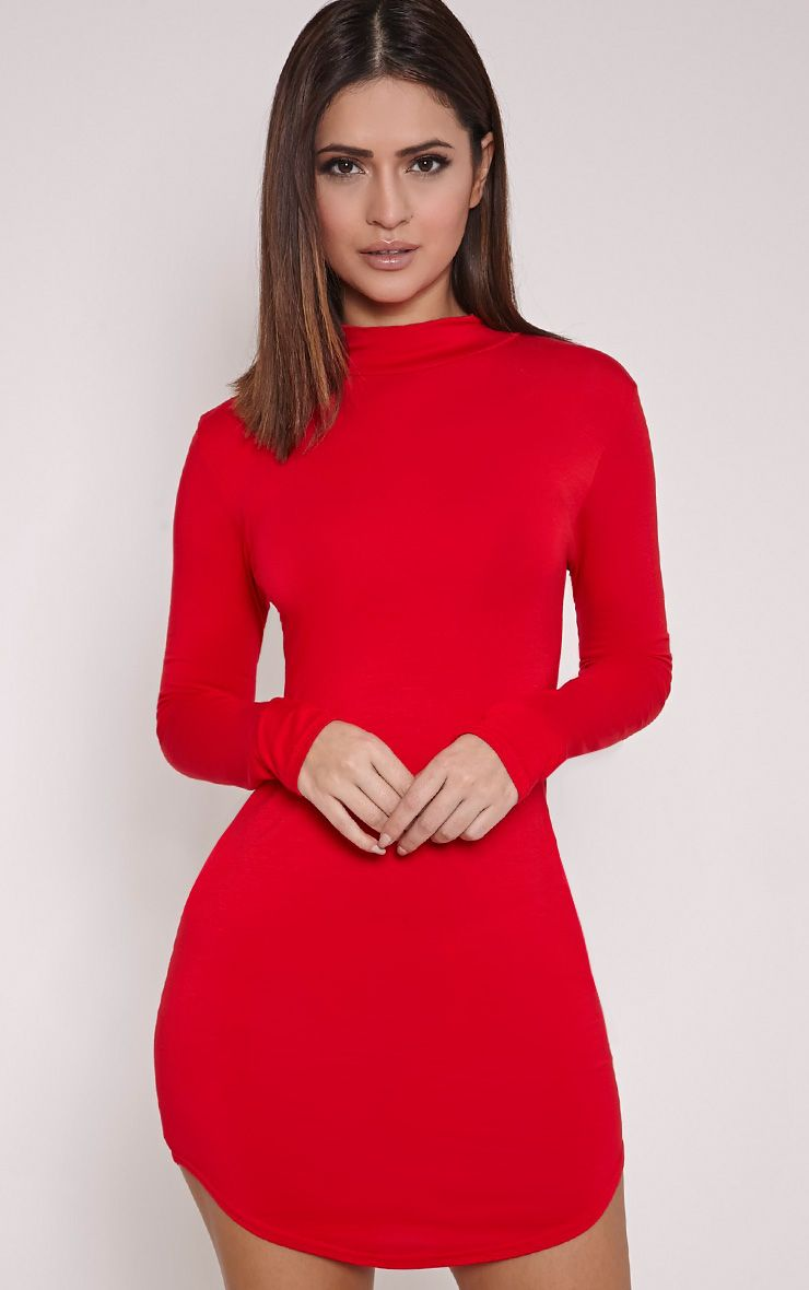 Alby Red Curve Hem High Neck Dress
