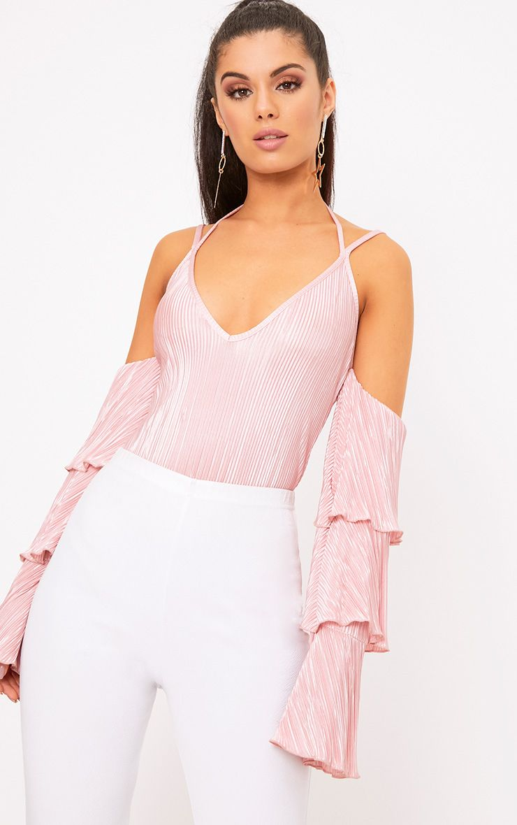Blush Pleated Frill Sleeve Cold Shoulder Thong Bodysuit