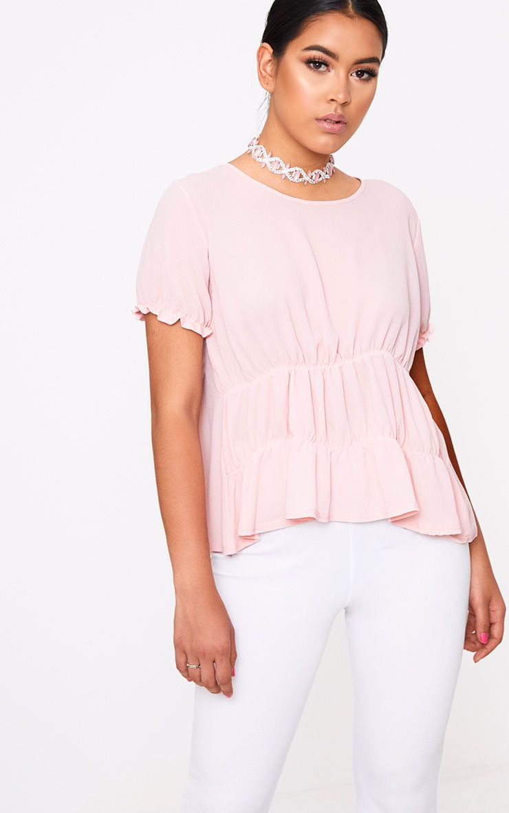 Blush Ruched Crew Neck Blouse