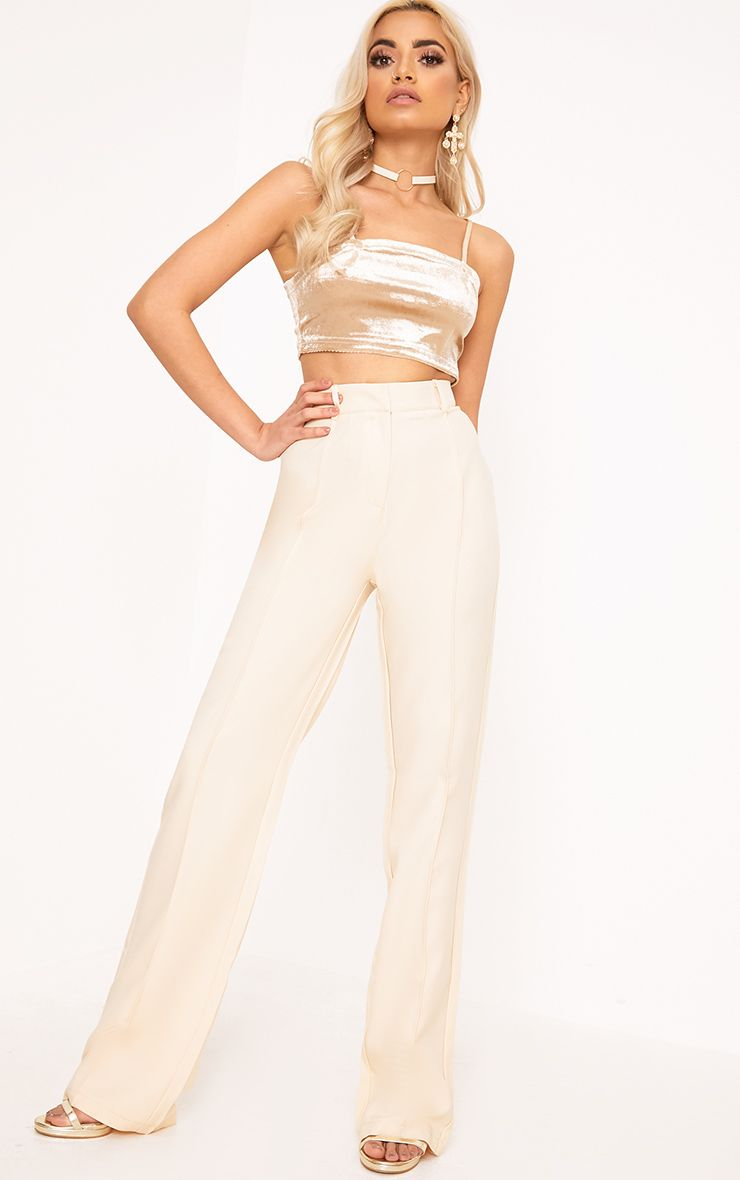 Anala Champagne High Waisted Wide Leg Trousers