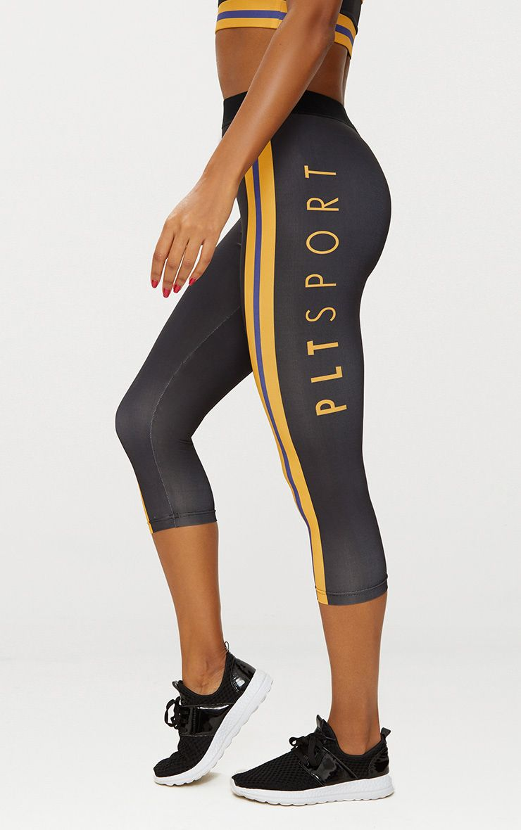 Black Sports Leggings with Orange Contrast