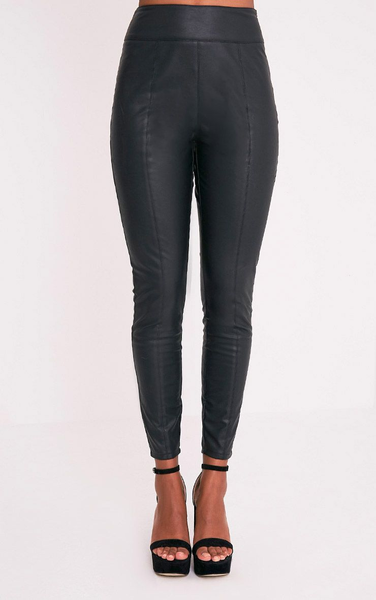 Denice pantalon skinny en imitation cuir noir 3