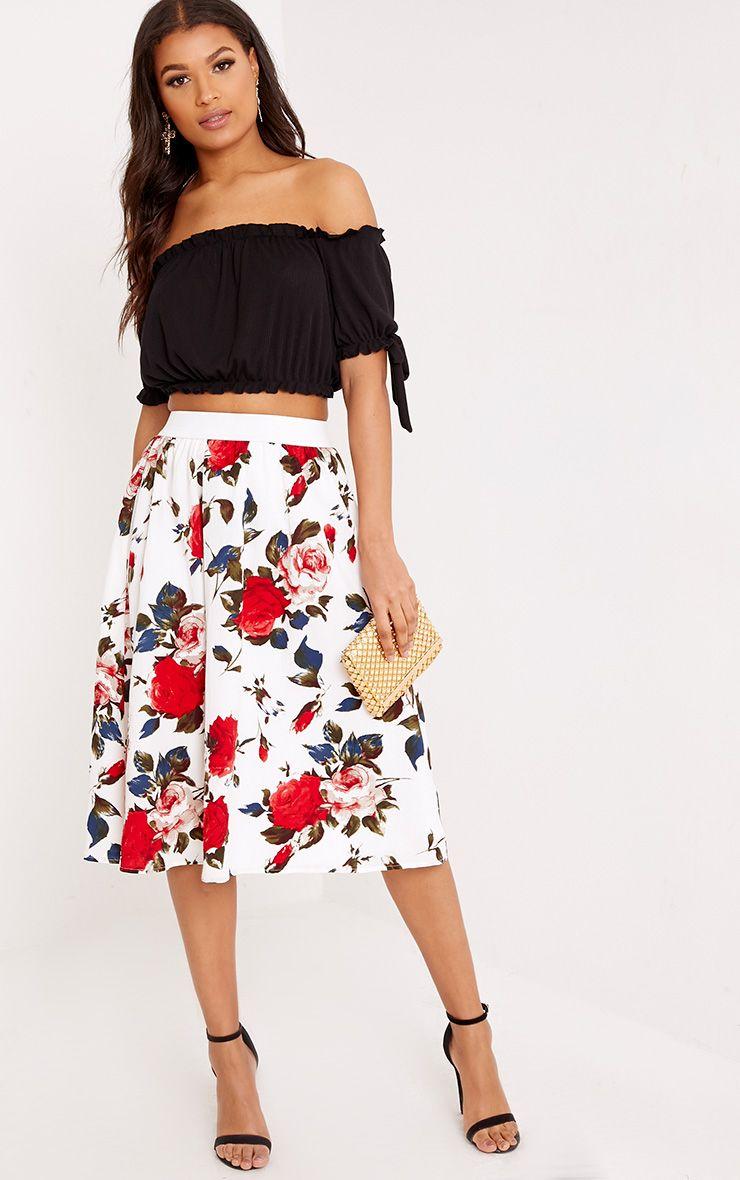 Anitta Cream Floral A Line Midi Skirt