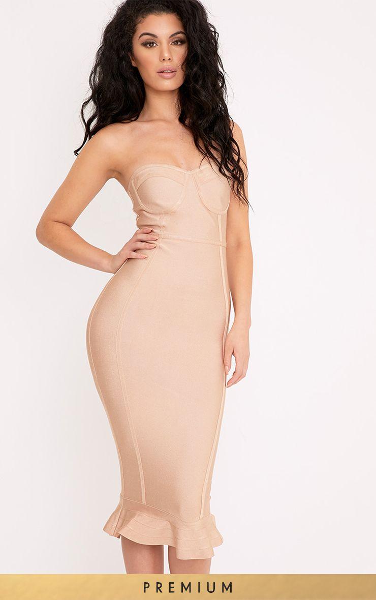 Roxina Camel Bandage Frill Hem Midi Dress