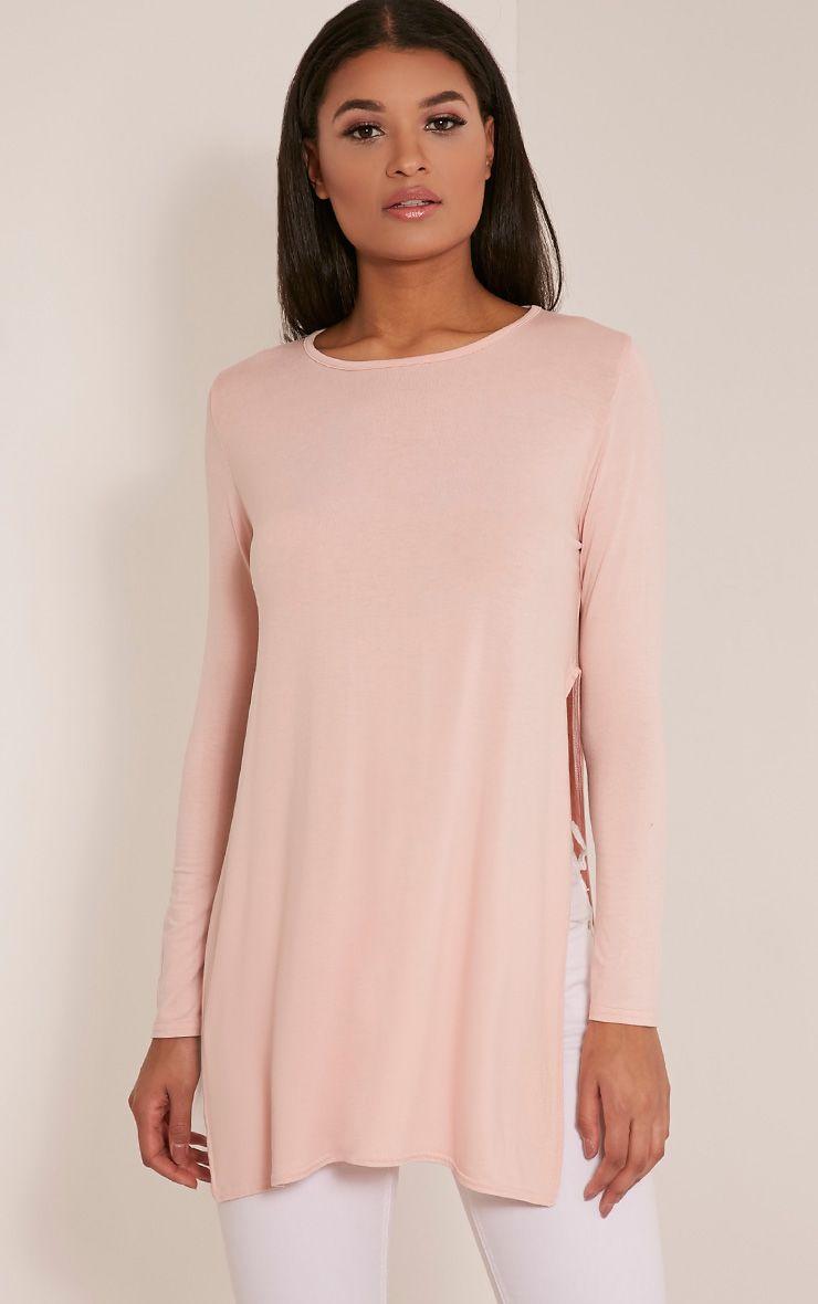 Basic Blush Long Sleeve Side Split Top 1