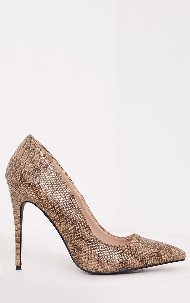 Ellia Taupe Faux Snake Skin Pointed Heels 1