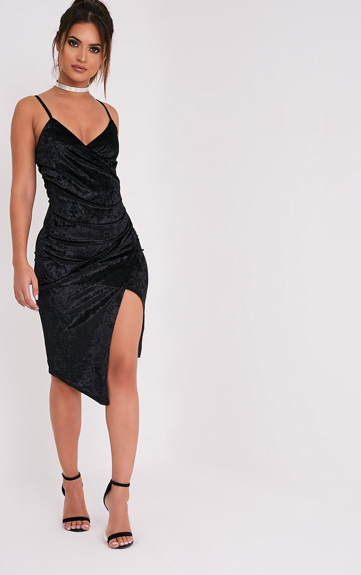 Prina Black Crushed Velvet Strappy Wrap Over Midi Dress