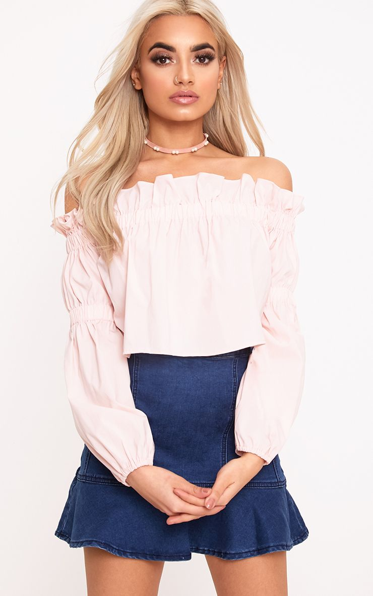 Femi Pink Bardot Frill Ruched Sleeve Top