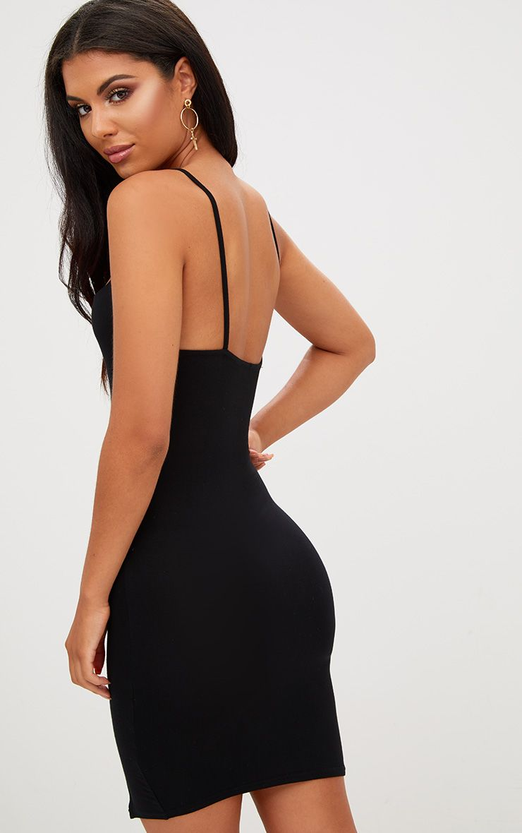 Black Square Neck Side Split Bodycon Dress Pretty Little Thing TyoPT