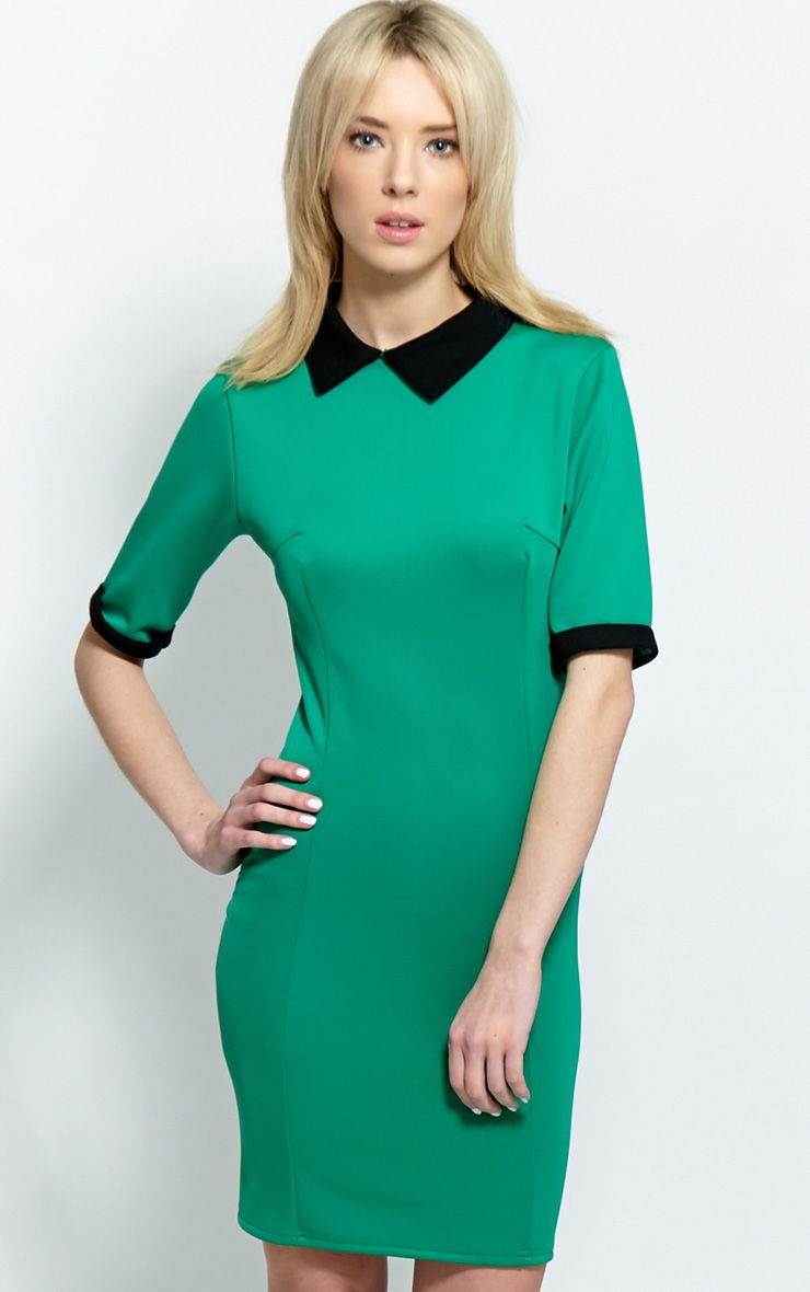 Katrina Green Dress With Black Collar 1