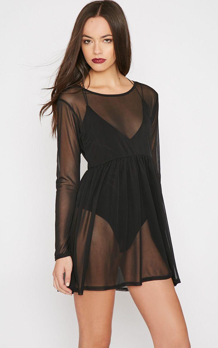 Raine Black Mesh Skater Dress 1
