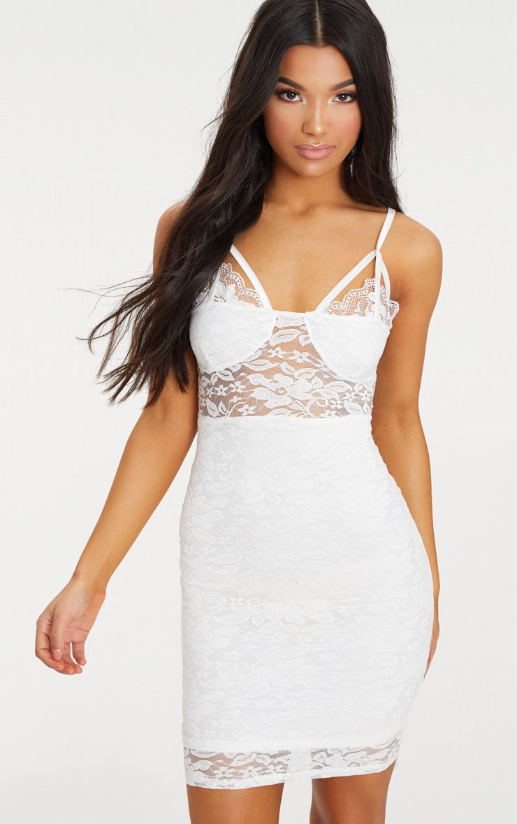 White Lace Strap Detail Bodycon Dress Pretty Little Thing Get Authentic Online kaRMg4iv