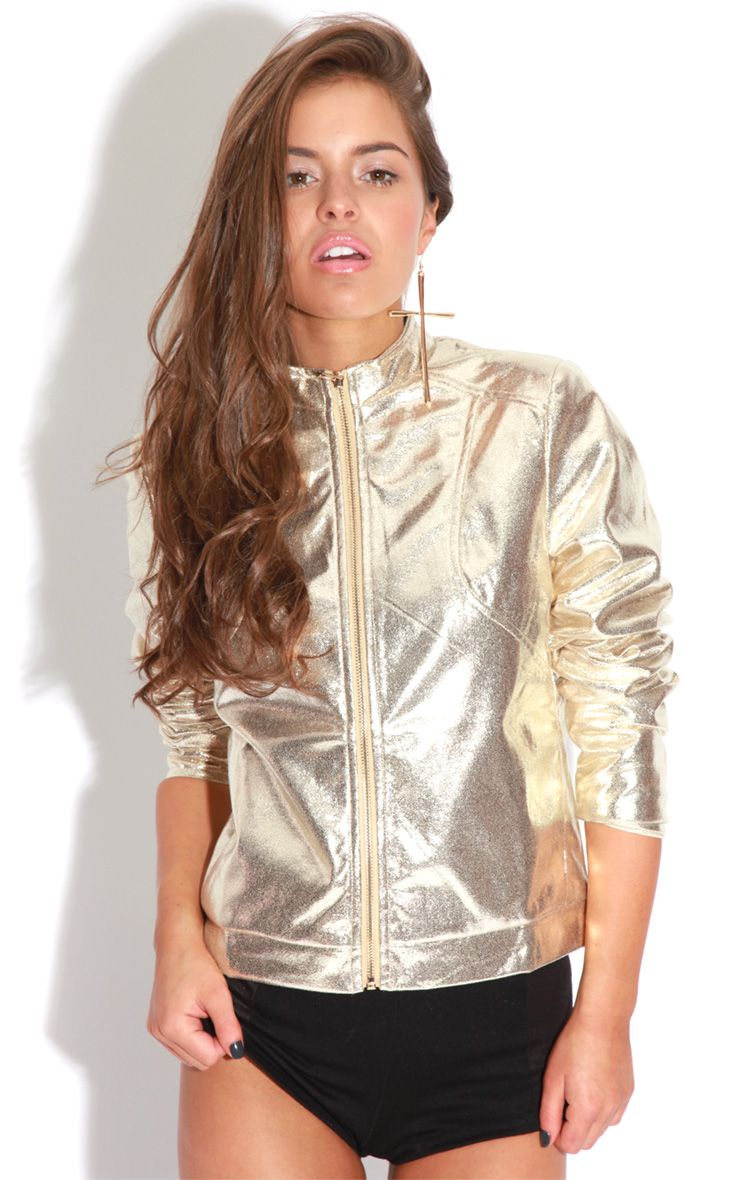 Farah Gold High Shine Bomber Jacket 1