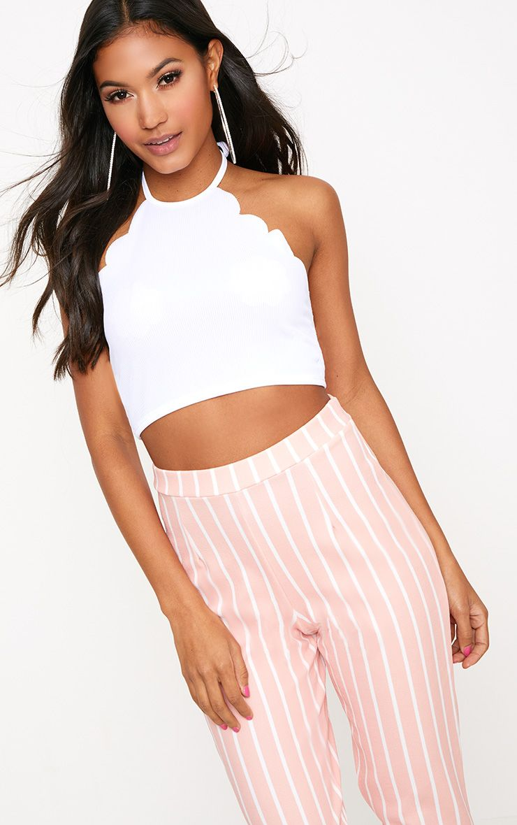 White Scallop Edge Halterneck Crop Top