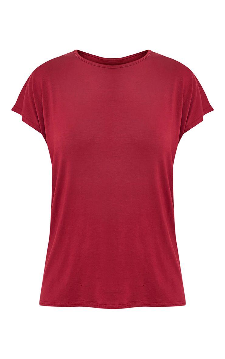 Basic t-shirt surdimensionné à col rond sang de bœuf 4