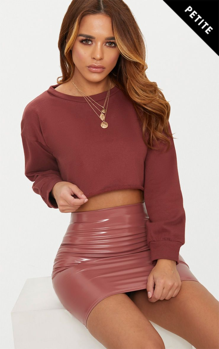 Petite Brown Cropped Sweater