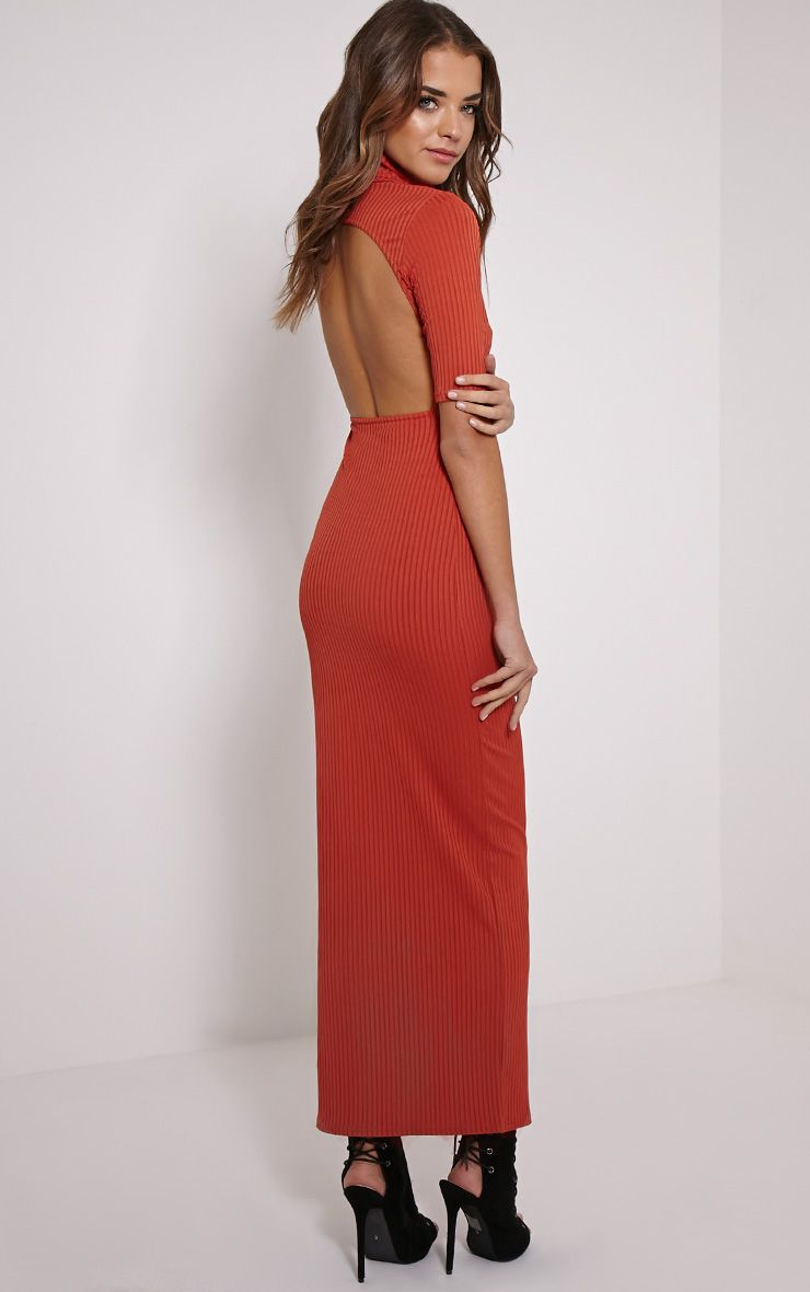 Daria Rust Open Back Ribbed Maxi Dress 1