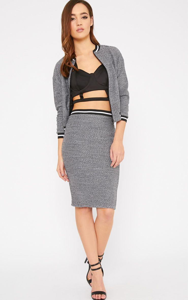 Hollie Grey Boucle Sporty Knitted Midi Skirt 1