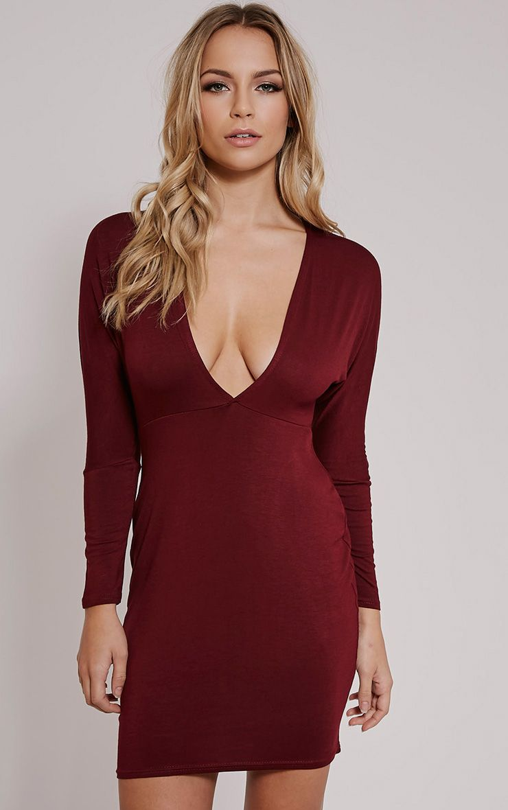 Honora Burgundy Plunge Bodycon Dress 1