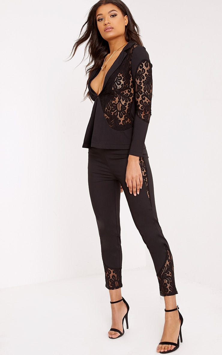 Mikaylah Black Lace Insert Suit Trousers