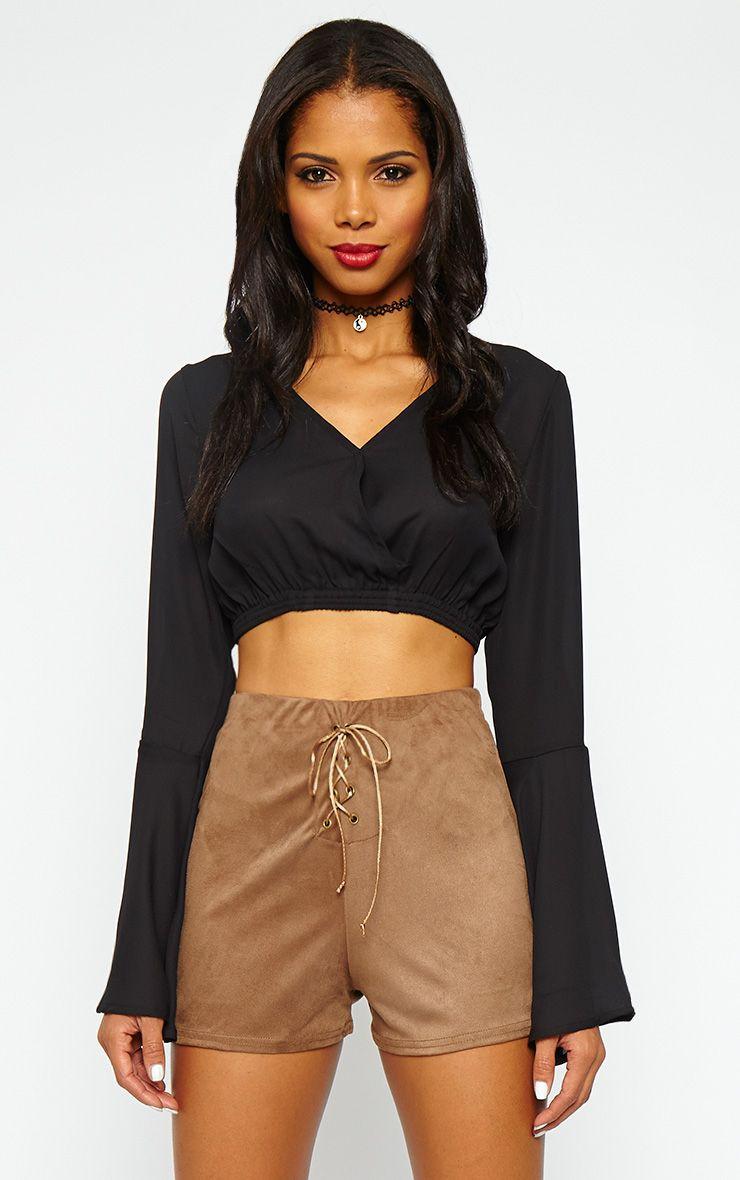 Ulrika Tan Suedette Tie Front Shorts 1