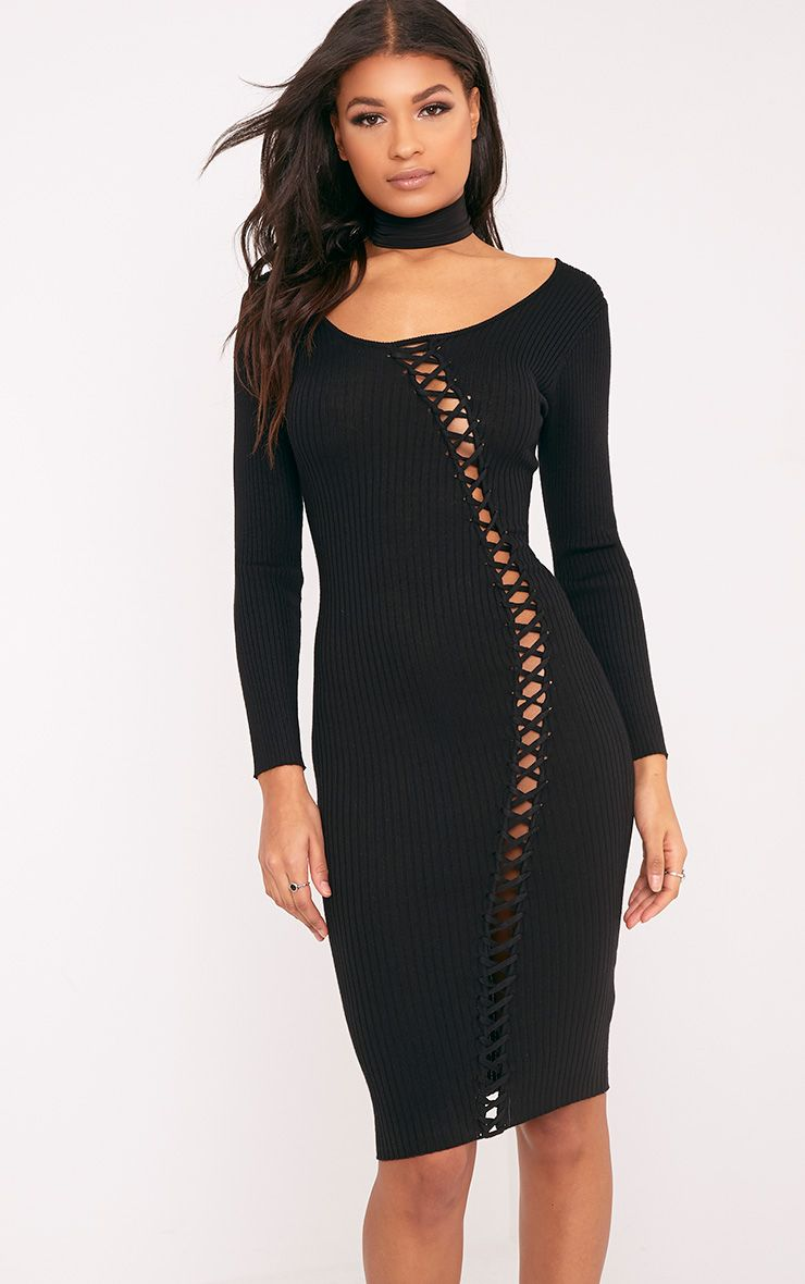 Pyper Black Tie Detail Ribbed Knit Midi Dress