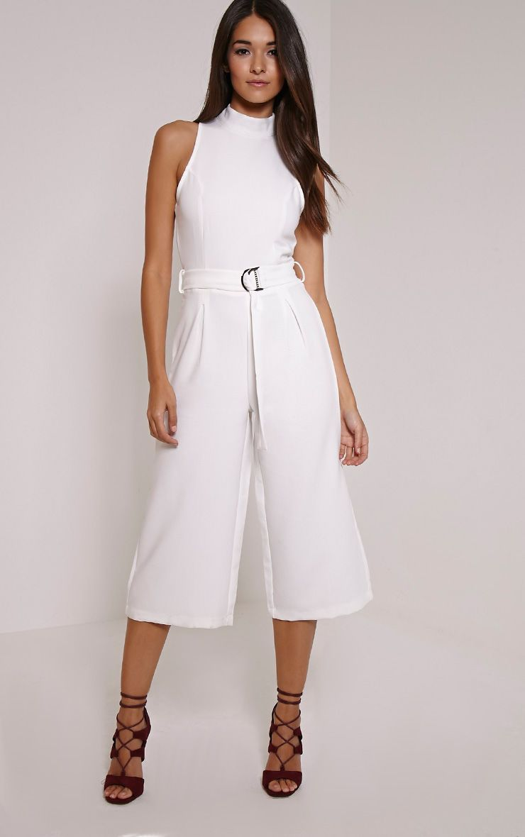 Candace White High Neck D Ring Culotte Jumpsuit White