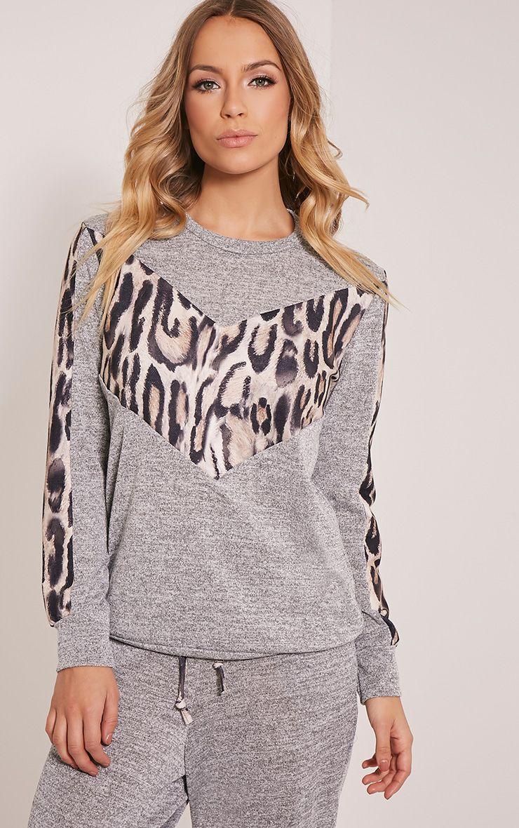 Kate Grey Leopard Print Panel Tracksuit Sweatshirt 1